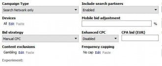 AdWords Editor frequency capping