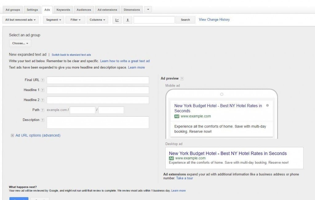 Create Expanded Ads AdWords