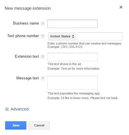 AdWords new feature: message extensions