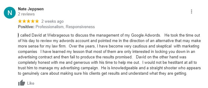 New 5 Star Google Review For Google Ads Management!