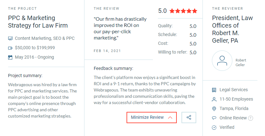 Effective Marketer: Webrageous Gets Five-Star Ratings on Clutch!